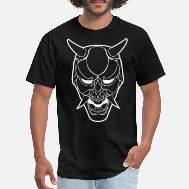 Japanese Mask Art Japanese Demon Mask Line Art - Men's T-Shirt