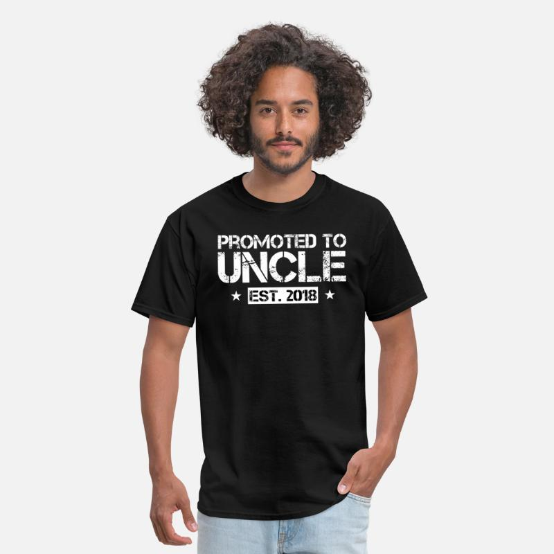 Uncle T-Shirts - Promoted To Uncle Est 2018 T Shirt New Uncle Gift - Men's T-Shirt black
