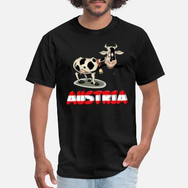 Austria Funny Austria with funny cow - Men's T-Shirt