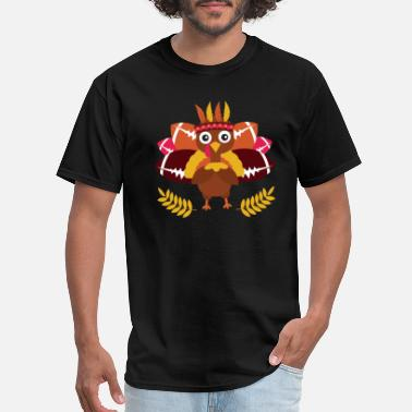 Animation Cute Football Cute Turkey Kids Football Thanksgiving Design - Men's T-Shirt