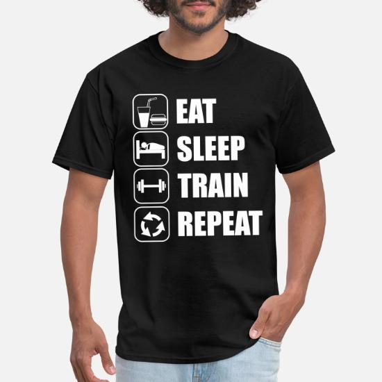 Eat Sleep Train Repeat Mens Womens Hoodie Gym Sweater Hoody Gift Weights New