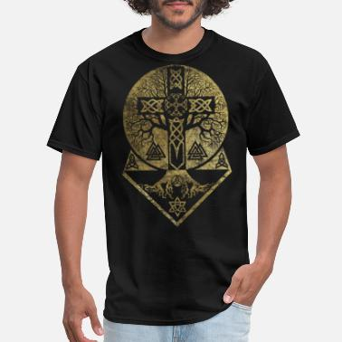 Celtic Tree of life -Yggdrasil and Celtic Cross - Men's T-Shirt