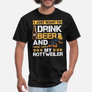 Red Dog Beer i just want to drink beer and hang with my rottwei - Men's T-Shirt