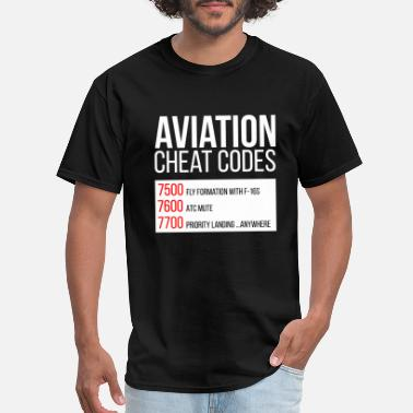 Pilot Aviator Aviation cheat codes - Funny Tshirt for pilots - Men's T-Shirt