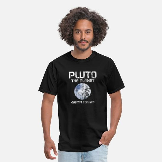 Pluto T-Shirts - Pluto The Planet - Never Forget Distressed - Men's T-Shirt black