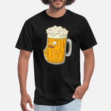 Foam Party Cute & Funny Foaming Beer with Mustache - Men's T-Shirt