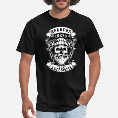 Tattoo Bearded Inked And Awesome Badass Dad - Men's T-Shirt