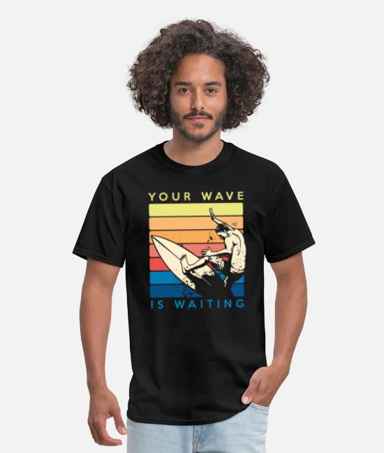 Wave T-Shirts - Your Wave Is Waiting Retro Surfer Surfing - Men's T-Shirt black