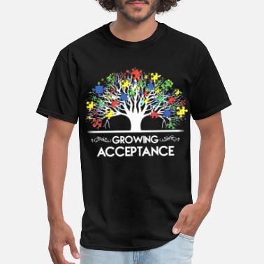 95035051c Autism Awareness Teacher growing acceptance tree friend love emotional auti  - Men's. Men's T-Shirt