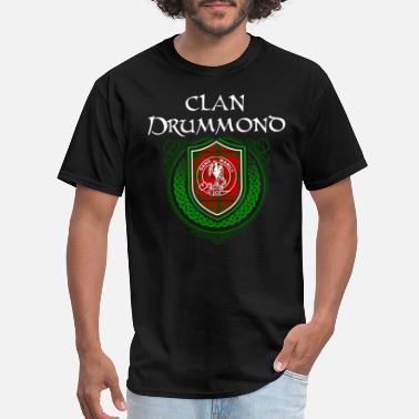 Bagpipe Drummond Surname Scottish Clan Tartan Crest Badge - Men's T-Shirt