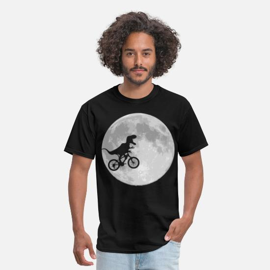 Geek T-Shirts - Dinosaur Bike and MOON - Men's T-Shirt black