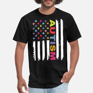Custom Autism Custom Autism Awareness America Flag Hanes Tagless - Men's T-Shirt