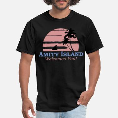 Movie Amity Island Welcomes You Jaws Retro Movie 70s 80s - Men's T-Shirt