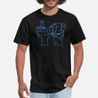 One Man Band fuck flip trendy blue cool gesture gift idea - Men's T-Shirt