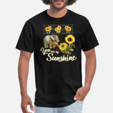 American Elephant you are my sunshine elephant sunflower mom and son - Men's T-Shirt