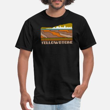 Silhouette Yellowstone National Park Skyline Retro Cityscape - Men's T-Shirt