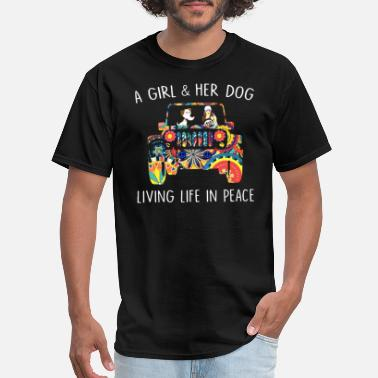Diesel Mechanic Girl a girl and her dog living life inpeace jeep - Men's T-Shirt
