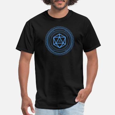 D20 Polyhedral D20 Dice Minimalist Blue Tabletop RPG - Men's T-Shirt