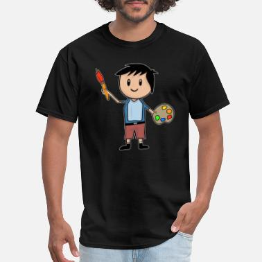 Artist Palette Little Artist - Boy With Brush And Palette - Men's T-Shirt