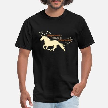 happiness is believing in unicorn animals unicorn - Men's T-Shirt