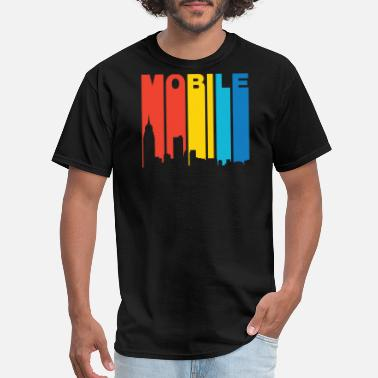 Mobile Alabama Retro 1970's Style Mobile Alabama Skyline - Men's T-Shirt
