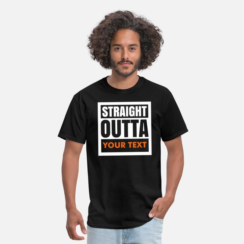 "Straight T-Shirts - ""Custom"" Straight Outta (1 color) - Men's T-Shirt black"