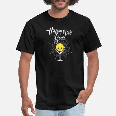 Smiley Family Happy New Year Smiley Face With Drink Cute - Men's T-Shirt