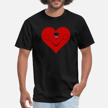 Badminton Heart Beat Badminton Badminton Badminton Heart Feathers Gift - Men's T-Shirt