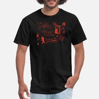 Prenzlauer Berg Urban Street Art Tram Bear Bridge Bicycle Red - Men's T-Shirt