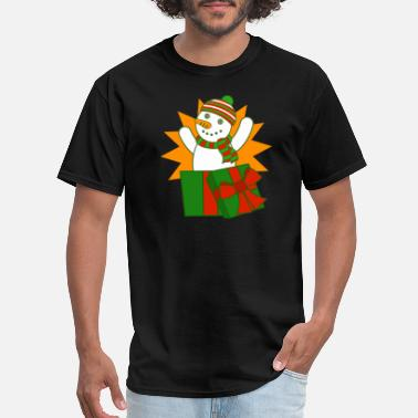 Box Jump Funny Cute Snowman Christmas Funny Frosty Gift Package - Men's T-Shirt