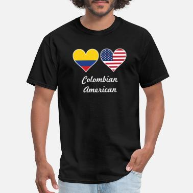 Colombian American Flag Colombian American Flag Hearts - Men's T-Shirt