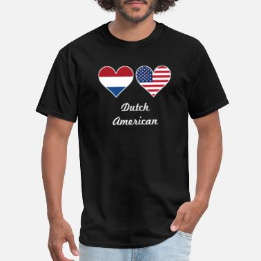 Dutch American Flag Dutch American Flag Hearts - Men's T-Shirt