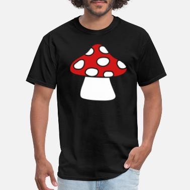 Eat The Mushrooms dots fly agaric mushroom red eat poisonous delicio - Men's T-Shirt