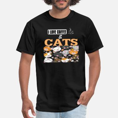 Cats And Coffee I Love Coffe & Cats Pet Animal Love Gift - Men's T-Shirt
