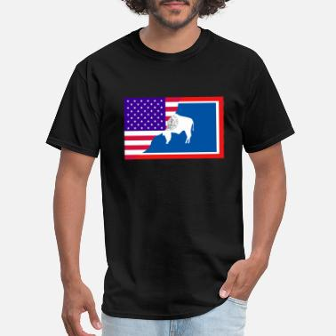 USA-Wyoming Flag T-Shirt. Both Flags in one. - Men's T-Shirt