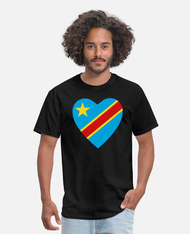 Kinshasa T-Shirts - Congo-Kinshasa Flag Heart - Men's T-Shirt black