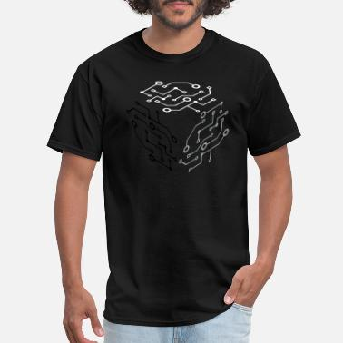 Bro Cycling pattern square cube logo circuit wire data microch - Men's T-Shirt