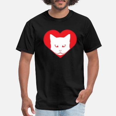 Cat And Kitty Love Heart in love with cat kitty - Men's T-Shirt