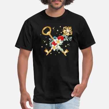 Different two crossed keys with different flowers - Men's T-Shirt
