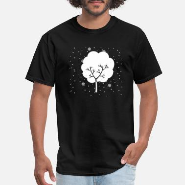Falling Snow Tree in Winter With Falling Snow Around - Men's T-Shirt