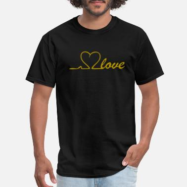 Line Love Love Line in Gold with heart in the puls line - Men's T-Shirt