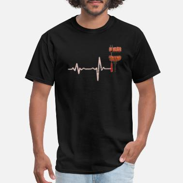 Charcoal Lighter gift heartbeat BBQ barbeque streaky - Men's T-Shirt