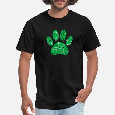 Green Dog Paw Print With Paisley Pattern - Men's T-Shirt