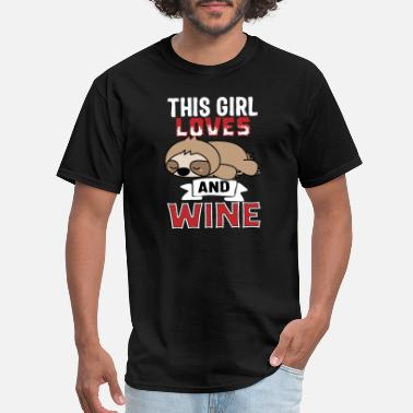 Wining Girl This Girl Loves Sloth And Wine - Men's T-Shirt