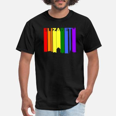 Elizabeth Elizabeth New Jersey Gay Pride Rainbow Skyline - Men's T-Shirt