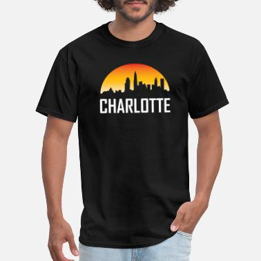 North Carolina Charlotte North Carolina Sunset Skyline - Men's T-Shirt