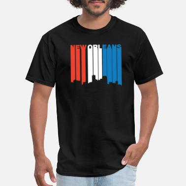 New Orleans Saxophone Red White And Blue New Orleans Louisiana Skyline - Men's T-Shirt