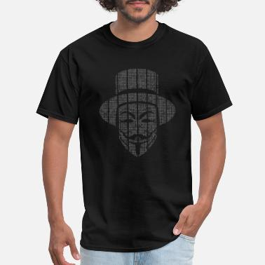 Anonymous Hackers Matrix Top Hat Guy Fawkes Mask - Men's T-Shirt