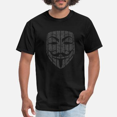 Hacker Matrix Guy Faux Mask - Men's T-Shirt