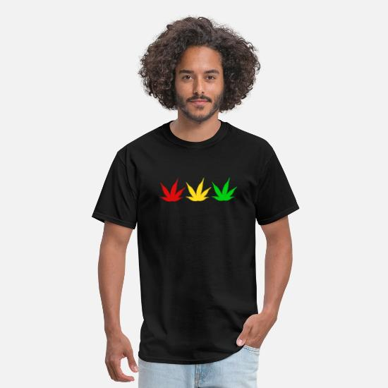 Weed T-Shirts - weed hemp leaf red yellow green - Men's T-Shirt black